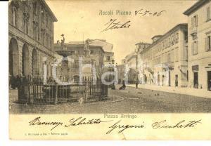 1906 ASCOLI PICENO Piazza ARRINGO *Cartolina ANIMATA FP VG
