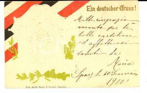 1900 GERMANIA Eine deutscher Gruss *Cartolina augurale con aquila a rilievo
