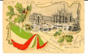 1900 ca MILANO Piazza del Duomo *Cartolina a rilievo con tricolore FP VG