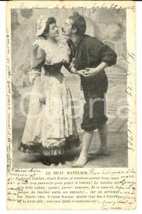 1905 INNAMORATI il bel battelliere *Cartolina postale VINTAGE FP VG