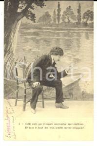 1900 ca AMOUREUX SOLITAIRE Cette onde que j'entends murmurer *Carte postale