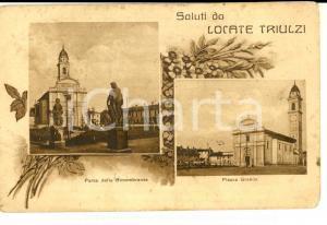 1926 LOCATE TRIULZI (MI) Vedutine con Piazza Grande *cartolina DANNEGGIATA FP VG