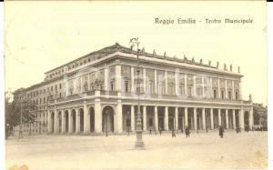 1919 REGGIO EMILIA Teatro Municipale - Esterno *Cartolina ANIMATA FP VG