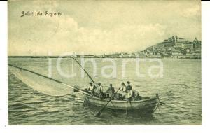 1920 ANCONA Pescatori al lavoro in mare *Cartolina postale FP VG