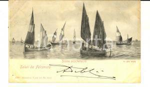 1900 ca FALCONARA MARITTIMA (AN) Scena con pescherecci *Cartolina FP VG