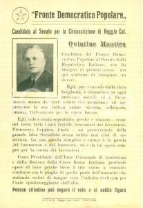 1948 REGGIO CALABRIA Votate Quintino MANTICA Fronte Democratico Popolare