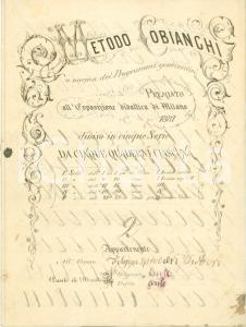 1890 ca METODO COBIANCHI Quaderno di calligrafia interamente manoscritto