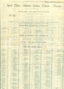 1930 ca FIRENZE Adriano SALANI Editore Catalogo per ordinazioni di libri