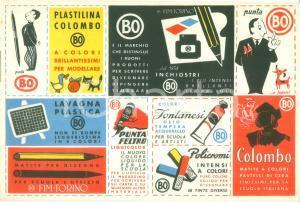 1950 ca FIM-TORINO Plastilina COLOMBO Penne a sfera Punta Bo *ILLUSTRATO
