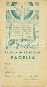 1940 ca TORINO Pagella per il catechista Scuola Religione non compilata