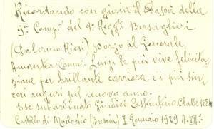 1929 MACLODIO (BS) Costantino GIUDICI si congratula con Gen. Luigi AMANTEA
