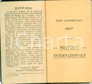 1917 MILANO Casa Farmaceutica Maurice ROBIN Diario quadrimestrale medicina
