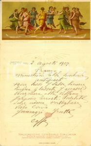 1907 Giulio ROMANO Ballo d'APOLLO con le Muse Menù NAVIGAZIONE GENERALE ITALIANA