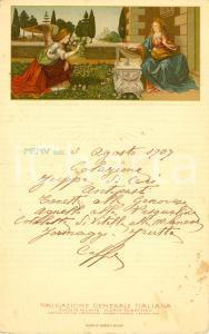 1907 Leonardo da VINCI Annunciazione Menù di bordo NAVIGAZIONE GENERALE ITALIANA