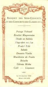 1950 BRANGES ? (F) Hotel JOUANS Banquet sous-conscrits et conscrits *Menù