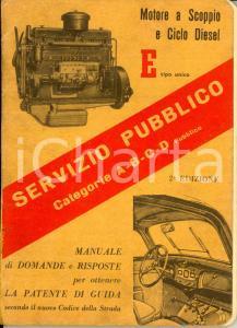 1950 ca AUTOMOBILISMO Servizio pubblico categorie A-B-C-D Manuale patente guida
