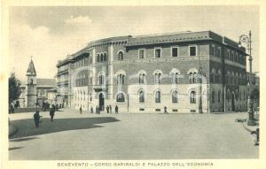 1930 ca BENEVENTO Corso GARIBALDI e Palazzo dell'ECONOMIA *ANIMATA FP NV