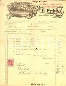 1930 TORINO Vivai Ernesto ERBA premiato stabilimento di frutticoltura *Fattura