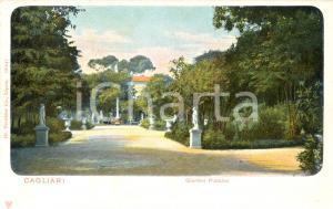 1900 ca CAGLIARI Giardini pubblici con statue Cartolina postale ILLUSTRATA FP NV