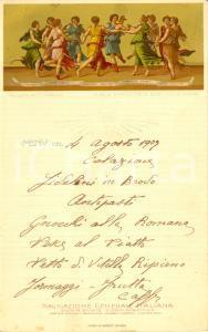 1903 Giulio ROMANO Ballo d'APOLLO con le Muse Menù NAVIGAZIONE GENERALE ITALIANA
