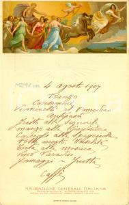 1907 Guido RENI 'Aurora' Menù di bordo NAVIGAZIONE GENERALE ITALIANA *ILLUSTRATO
