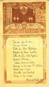 1915 FRANCE Banchetto per cena di gala *Menù ILLUSTRATO con incisione a stampa