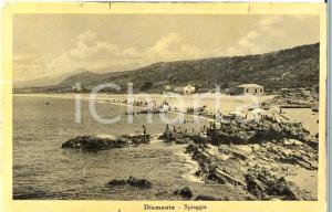 1940 DIAMANTE (CS) La spiaggia con bagnanti e barche *Cartolina ANIMATA FP VG