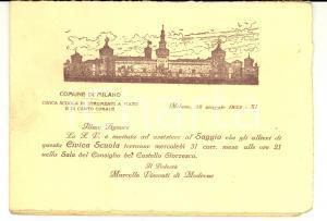 1933 MILANO Civica Scuola di strumenti a fiato e canto - Programma del saggio