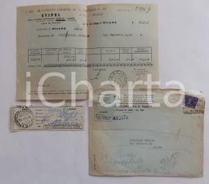 1950 MILANO STIPEL Fattura cambio indirizzo Corrado BISCEGLIE e assegno *Lotto