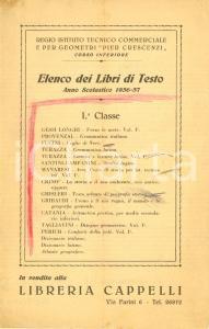 1936 BOLOGNA Libreria CAPPELLI Elenco libri testo Regio Istituto PIER CRESCENZI
