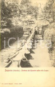 1916 VITERBO BAGNAIA La fontana del GRANCHIO a Villa LANTE *Cartolina FP VG