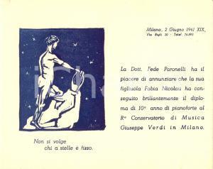 1941 MILANO Fede PARONELLI annuncia diploma pianoforte figliuola Fabia NICOLAU
