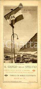 1931 AUTOMOBILE CLUB MILANO Giogo STELVIO *Carta geografica con tabella marcia