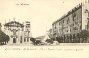 1900 ca MANTOVA Piazza SORDELLO Cattedrale Palazzo Ducale monumento BELFIORE *FP