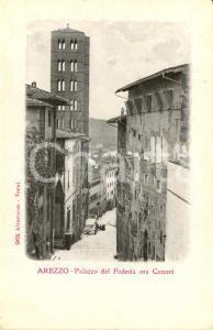 1910 ca AREZZO Palazzo del PODESTA' con torre di SANTA MARIA DELLA PIEVE *FP NV