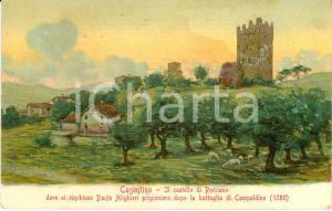 1918 STIA (AR) CASENTINO Veduta del castello di PORCIANO Cartolina ILLUSTRATA FP