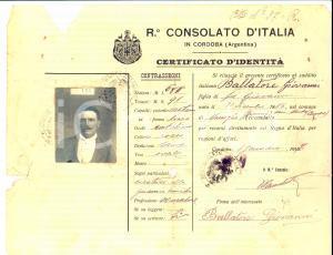 1917 CORDOBA (ARGENTINA) Certificato d'identità Giovanni BALLATORE per espatrio