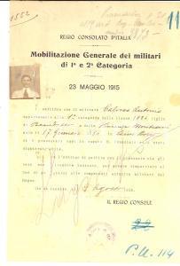 1915 RIO DE JANEIRO Emigrato italiano Antonio CALOSSO rimpatriato per leva