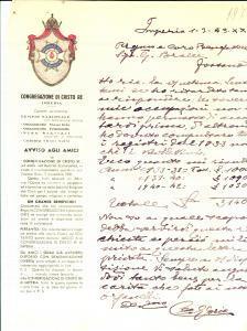 1943 IMPERIA Congregazione CRISTO RE - Don Santino GLORIO a un benefattore