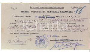 1940 WW2 MVSN ALESSANDRIA 4^ Legione CONTRAEREA Ernesto GARBARINO alle armi