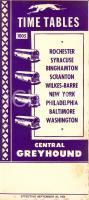 1954 CLEVELAND (USA) CENTRAL GREYHOUND bus service Timetables 1005 *Opuscolo