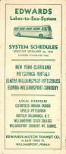 1954 WILLIAMSPORT (USA) EDWARDS motor transit co. Orari delle corse *Opuscolo