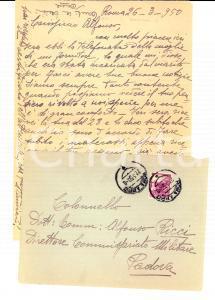 1950 ROMA Misteriosa assenza del commissario Alfonso RICCI *Lettera