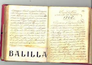 1770 GENOVA Copia 'Compendio' ACCINELLI - Diario con inserti 1915 ca 80 pp. RARO