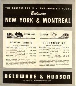 1954 MONTREAL Limited  DELAWARE & HUDSON railway *Orario ferroviario con mappa