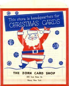 1960 ca ITHACA (USA) ZORN shop CHRISTMAS cards *Busta per acquisti ILLUSTRATA