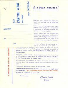 1960 ca CATTOLICA (RN) Cantine VERNI Pubblicità SANGIOVESE, ALBANA, VERDICCHIO