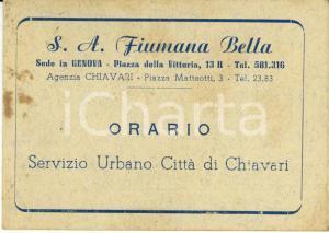 1960 ca CHIAVARI (GE) Società autotrasporti FIUMANA BELLA Orario servizio urbano
