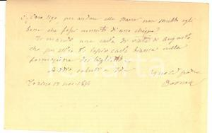 1894 TORINO Domenico CARUTTI DI CANTOGNO invia denaro al figlio Ugo AUTOGRAFO
