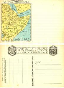 1935 AFRICA ORIENTALE Cartina delle colonie italiane *Cartolina Forze Armate FG